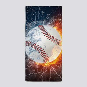 Baseball Ball Flames Splash Beach Towel