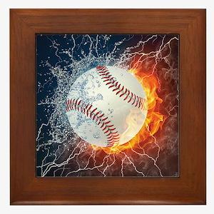 Baseball Ball Flames Splash Framed Tile