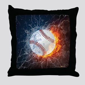 Baseball Ball Flames Splash Throw Pillow