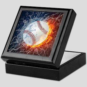 Baseball Ball Flames Splash Keepsake Box