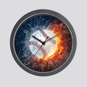 Baseball Ball Flames Splash Wall Clock