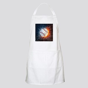 Baseball Ball Flames Splash Light Apron