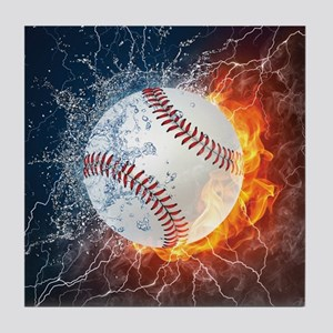 Baseball Ball Flames Splash Tile Coaster