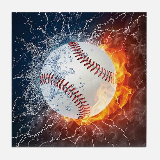 Baseball Ball Flames Splash Tile Coaster