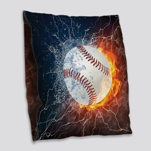 Baseball Ball Flames Splash Burlap Throw Pillow
