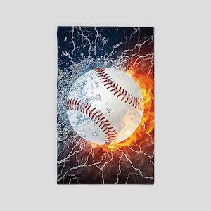 Baseball Ball Flames Splash Area Rug