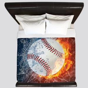 Baseball Ball Flames Splash King Duvet