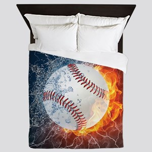 Baseball Ball Flames Splash Queen Duvet