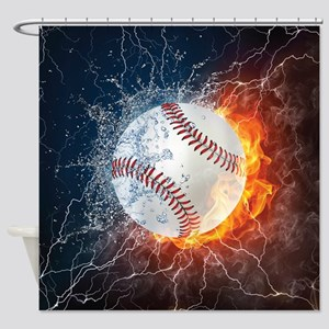 Baseball Ball Flames Splash Shower Curtain