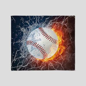 Baseball Ball Flames Splash Throw Blanket