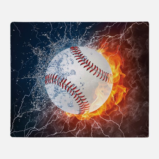 Baseball Ball Flames Splash Throw Blanket