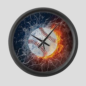 Baseball Ball Flames Splash Large Wall Clock