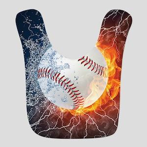 Baseball Ball Flames Splash Polyester Baby Bib
