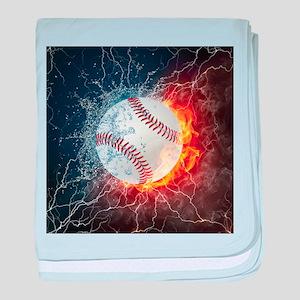 Baseball Ball Flames Splash baby blanket