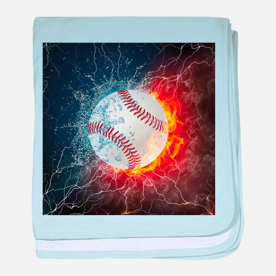 Baseball Ball Flames Splash baby blanket