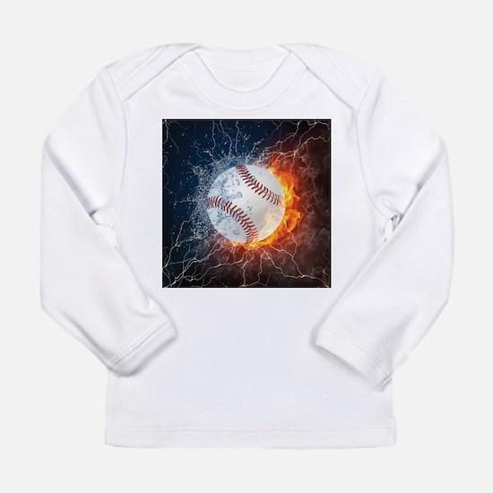 Baseball Ball Flames Splash Long Sleeve T-Shirt