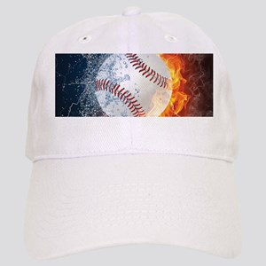Baseball Ball Flames Splash Cap