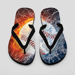 Baseball Ball Flames Splash Flip Flops