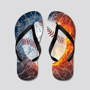 243dd4b6c82cca Baseball Ball Flames Splash Flip Flops