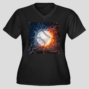 Baseball Ball Flames Splash Plus Size T-Shirt