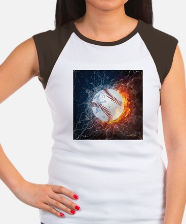 Baseball Ball Flames Splash T-Shirt