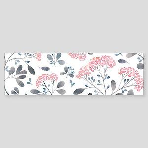 Pastel Pink Flowers Pattern Bumper Sticker