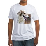 Red & White Borzoi<br> Fitted T-Shirt