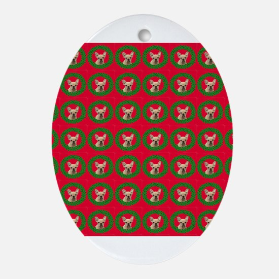 Christmas French Bulldog Oval Ornament
