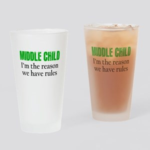 MIDDLE CHILD (green) Drinking Glass