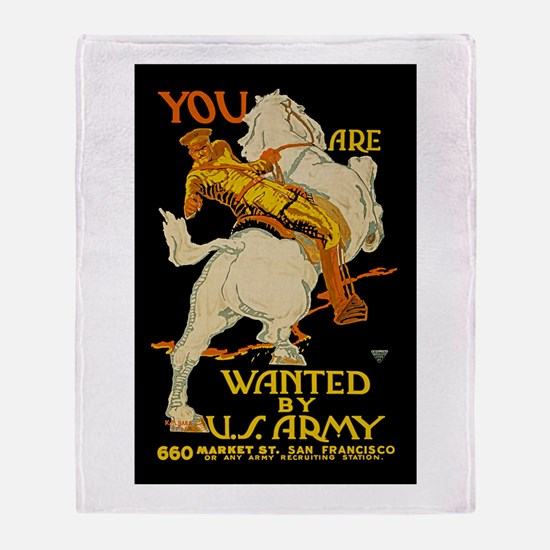 US Army You Are Wanted WWI Propagan Throw Blanket