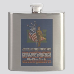 US Army Join the Engineers WWI Propaganda Flask