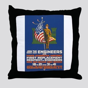 US Army Join the Engineers WWI Propa Throw Pillow