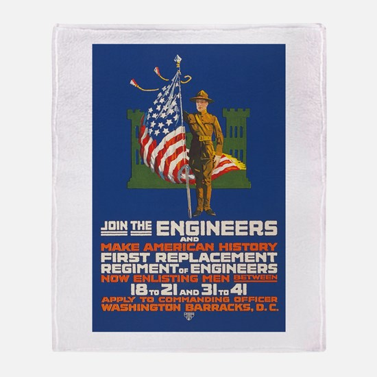 US Army Join the Engineers WWI Prop Throw Blanket