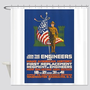 US Army Join the Engineers WWI Pro Shower Curtain