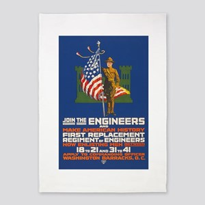 US Army Join the Engineers WWI Pro 5'x7'Area Rug