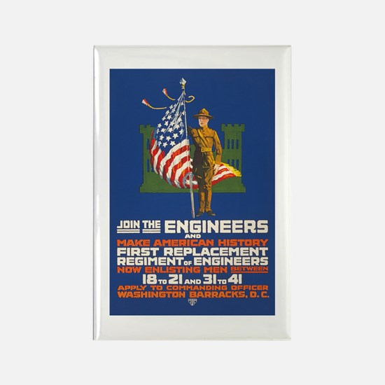 US Army Join the Engineers WWI P Rectangle Magnet