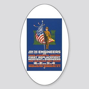 US Army Join the Engineers WWI Pro Sticker (Oval)
