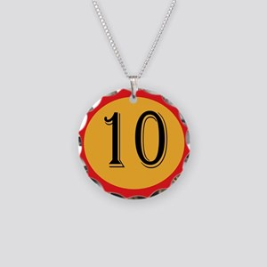Number 10 Necklace Circle Charm