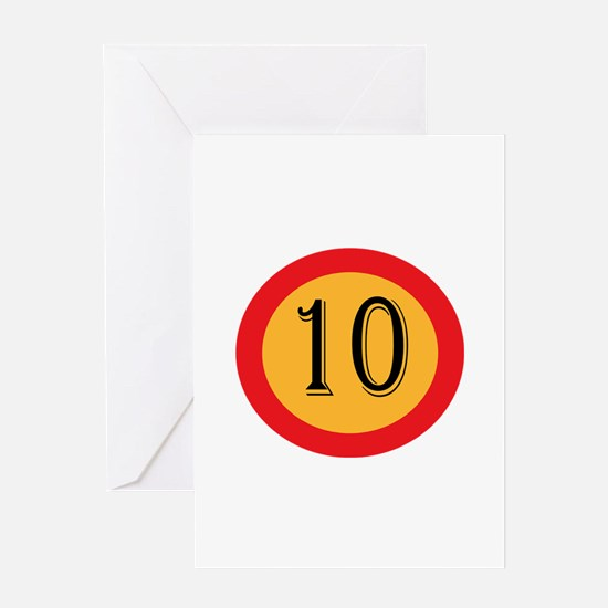 Number 10 Greeting Cards