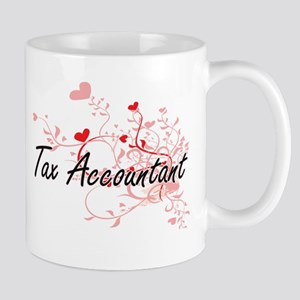 Tax Accountant Artistic Job Design with Heart Mugs