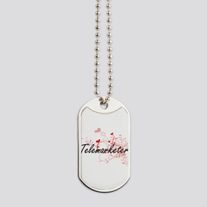 Telemarketer Artistic Job Design with Hea Dog Tags