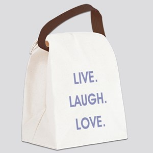 LIVE, LAUGH, LOVE. Canvas Lunch Bag