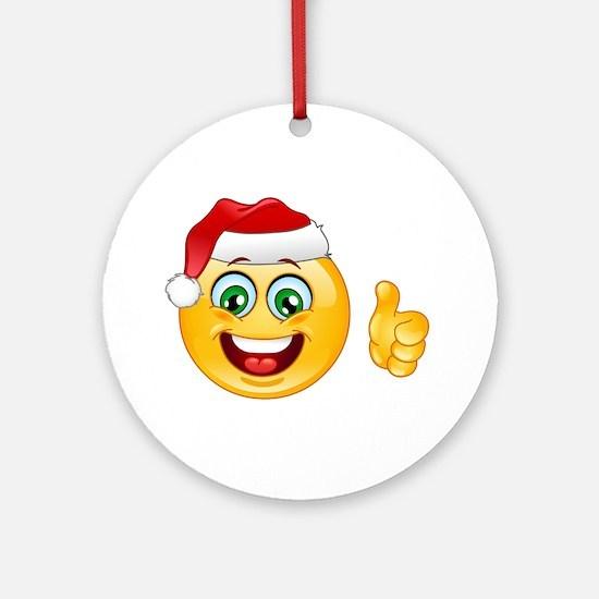 santa claus emoji Round Ornament