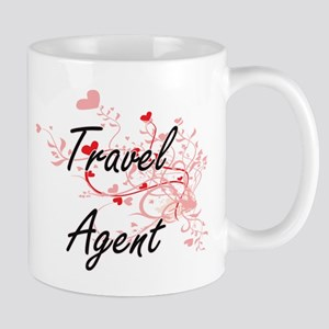 Travel Agent Artistic Job Design with Hearts Mugs