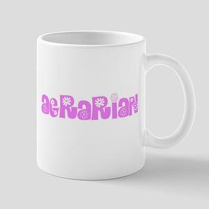 Agrarian Pink Flower Design Mugs