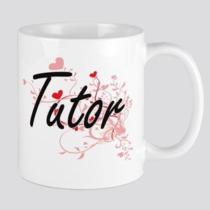 Tutor Artistic Job Design with Hearts Mugs