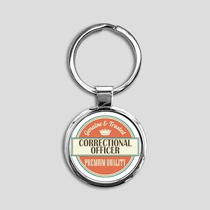 correctional officer vintage logo Round Keychain