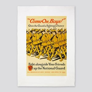 National Guard Come On Boys WWI Pro 5'x7'Area Rug