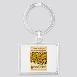 National Guard Come On Boys WWI Landscape Keychain