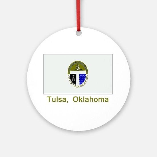Tulsa OK Flag Ornament (Round)